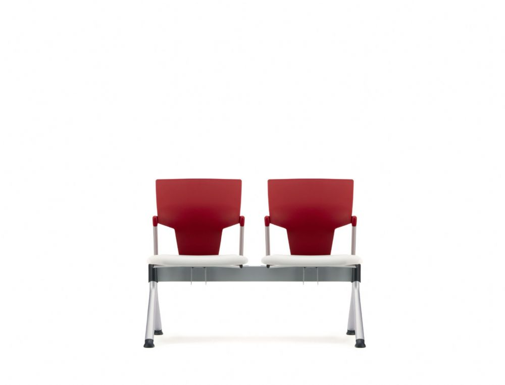 Pledge Ikon Beam 2 Seat Linked Chair With Plastic Back and Upholstered Seat